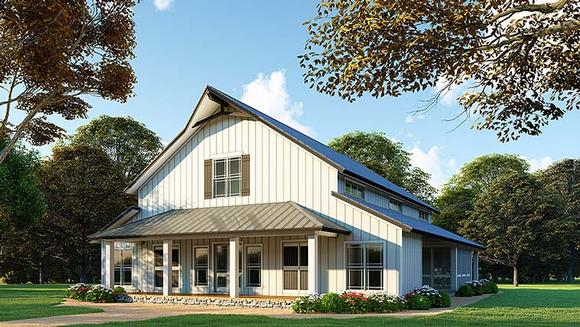 Country, Farmhouse, Southern House Plan 82451 with 3 Beds, 4 Baths Elevation