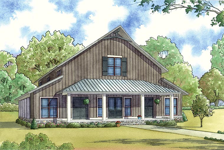 Country, Farmhouse, Southern House Plan 82451 with 3 Beds, 4 Baths Picture 1