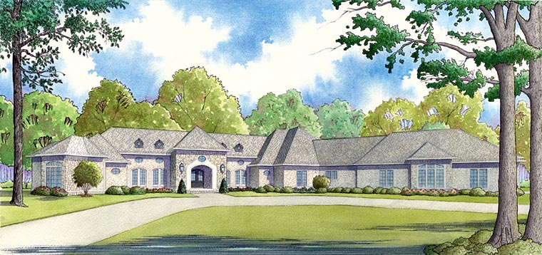 European, French Country, Mediterranean, Southern House Plan 82457 with 4 Beds, 6 Baths, 3 Car Garage Elevation
