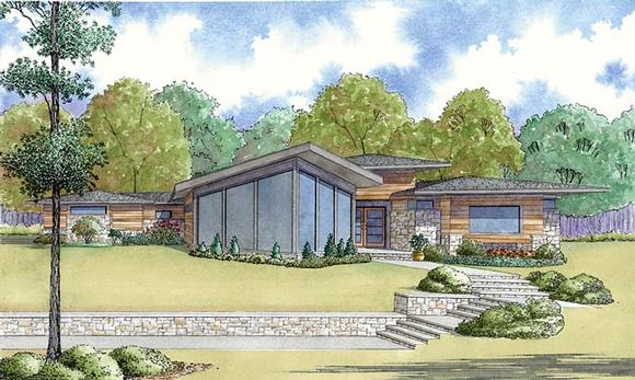 Contemporary, Prairie, Southwest House Plan 82459 with 4 Beds, 3 Baths, 2 Car Garage Elevation