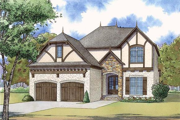 European, French Country, Traditional, Tudor House Plan 82468 with 4 Beds, 3 Baths, 2 Car Garage Elevation