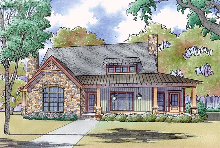 Bungalow Cabin Cottage Country Craftsman Southern House Plan 82471 Elevation