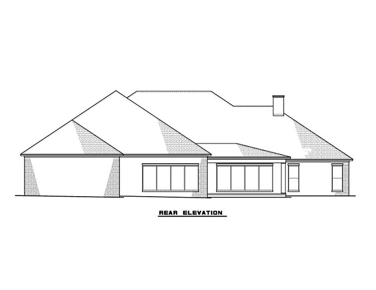 Country, Southern, Traditional House Plan 82487 with 3 Beds, 5 Baths, 3 Car Garage Rear Elevation