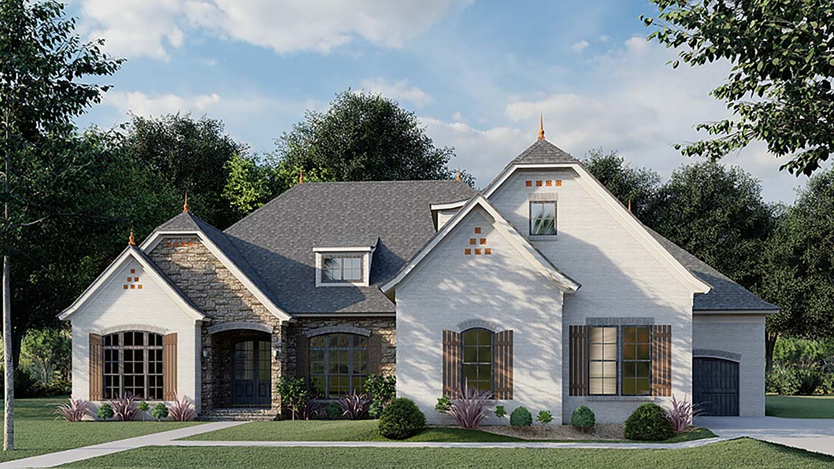 Bungalow, Craftsman, French Country House Plan 82491 with 3 Beds, 4 Baths, 3 Car Garage Elevation