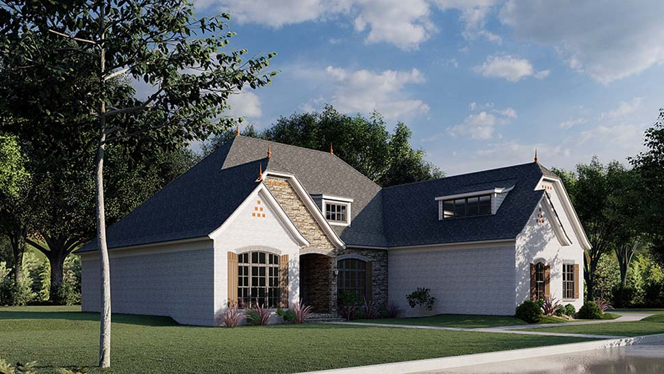 Bungalow, Craftsman, French Country House Plan 82491 with 3 Beds, 4 Baths, 3 Car Garage Picture 2