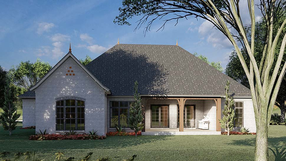 Bungalow, Craftsman, French Country House Plan 82491 with 3 Beds, 4 Baths, 3 Car Garage Rear Elevation