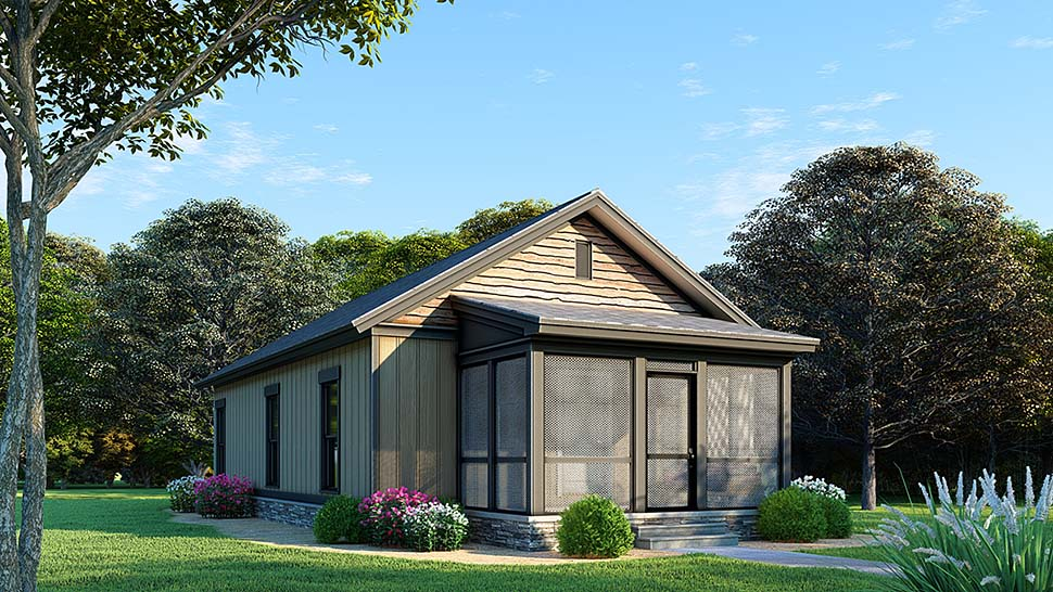 Cabin, Country, Ranch, Southern, Traditional House Plan 82499 with 3 Beds, 1 Baths Elevation