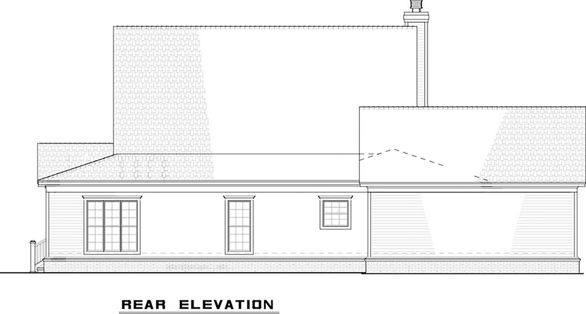 Country, Farmhouse, Southern House Plan 82500 with 4 Beds, 2 Baths, 2 Car Garage Rear Elevation