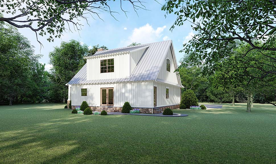 Bungalow, Cottage, Country, Craftsman House Plan 82519 with 3 Beds, 3 Baths Rear Elevation