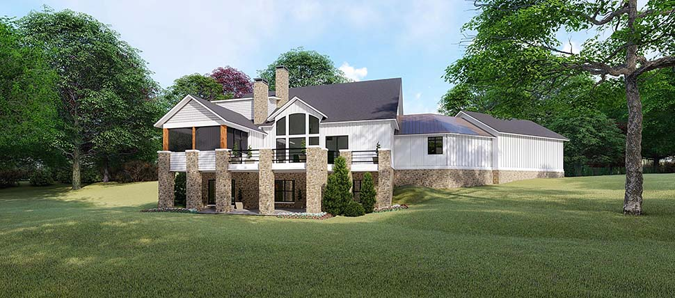 Country, Craftsman, Farmhouse House Plan 82520 with 6 Beds, 6 Baths, 3 Car Garage Rear Elevation