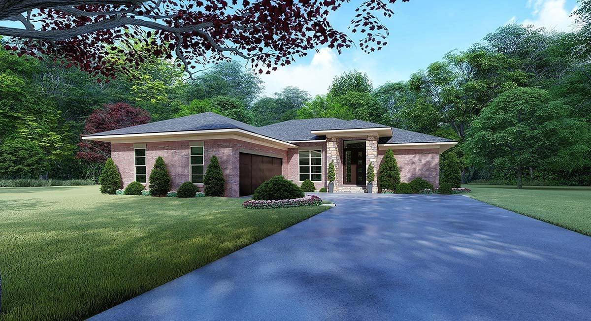 Contemporary, Mediterranean, Modern House Plan 82527 with 4 Beds, 2 Baths, 2 Car Garage Elevation