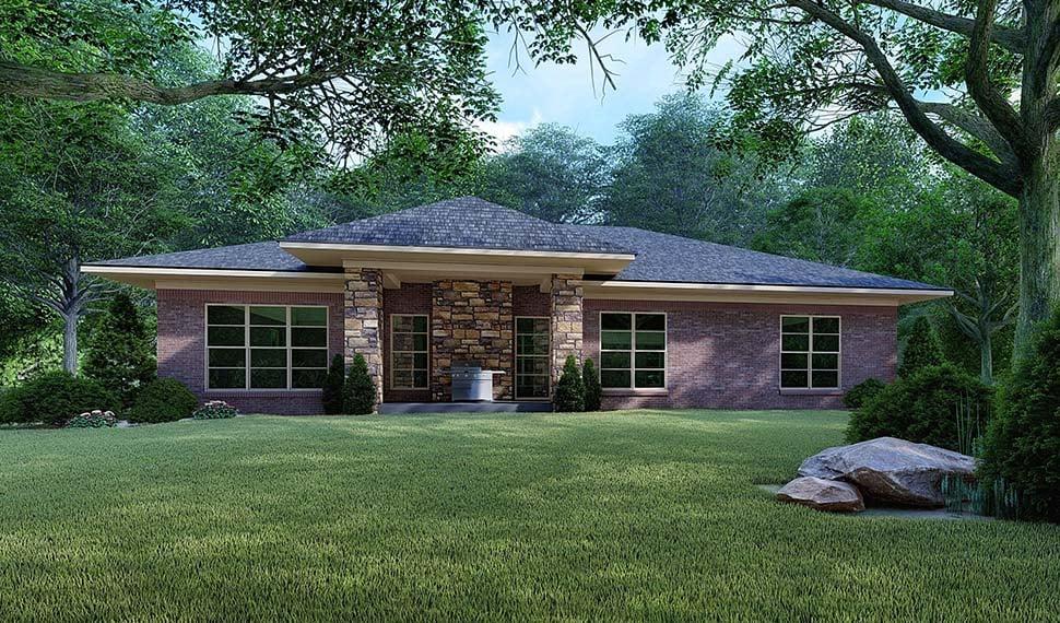 Contemporary, Mediterranean, Modern House Plan 82527 with 4 Beds, 2 Baths, 2 Car Garage Rear Elevation