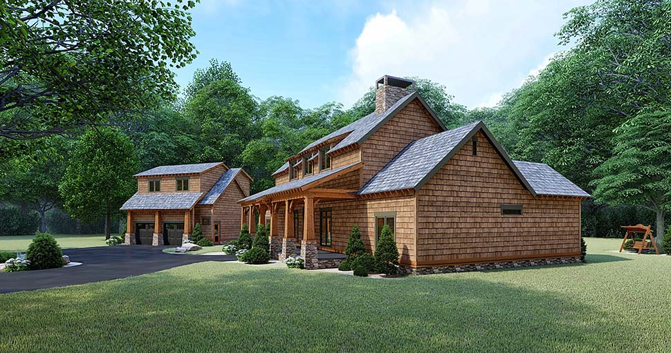 Bungalow, Cabin, Country, Craftsman, Farmhouse House Plan 82528 with 3 Beds, 4 Baths, 2 Car Garage Picture 1