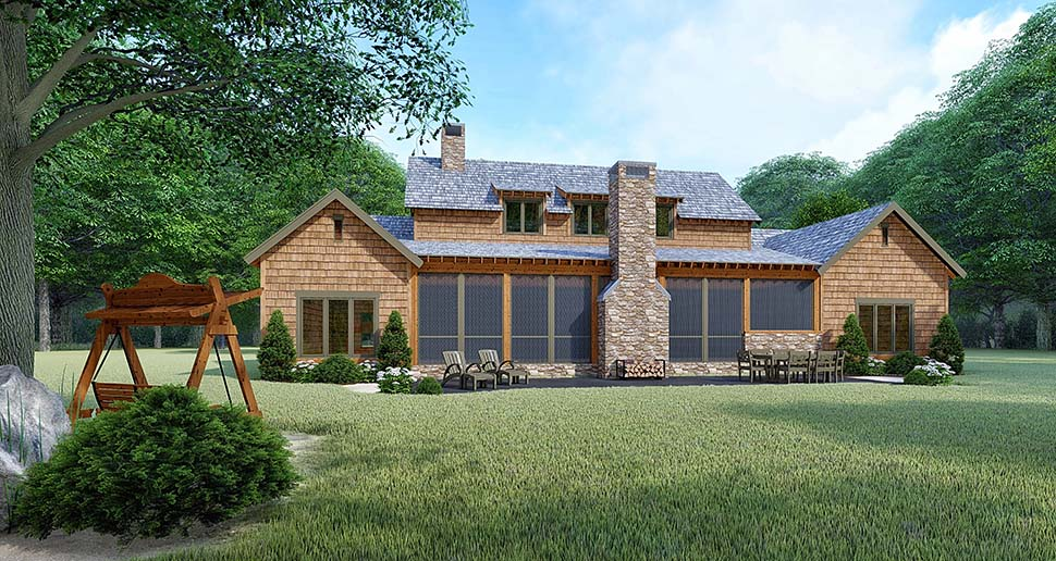 Bungalow, Cabin, Country, Craftsman, Farmhouse House Plan 82528 with 3 Beds, 4 Baths, 2 Car Garage Rear Elevation