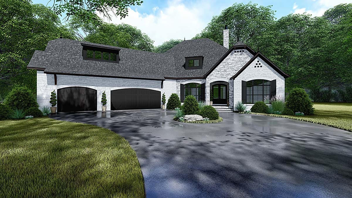 Bungalow, Craftsman, European, French Country House Plan 82534 with 4 Beds, 4 Baths, 3 Car Garage Elevation