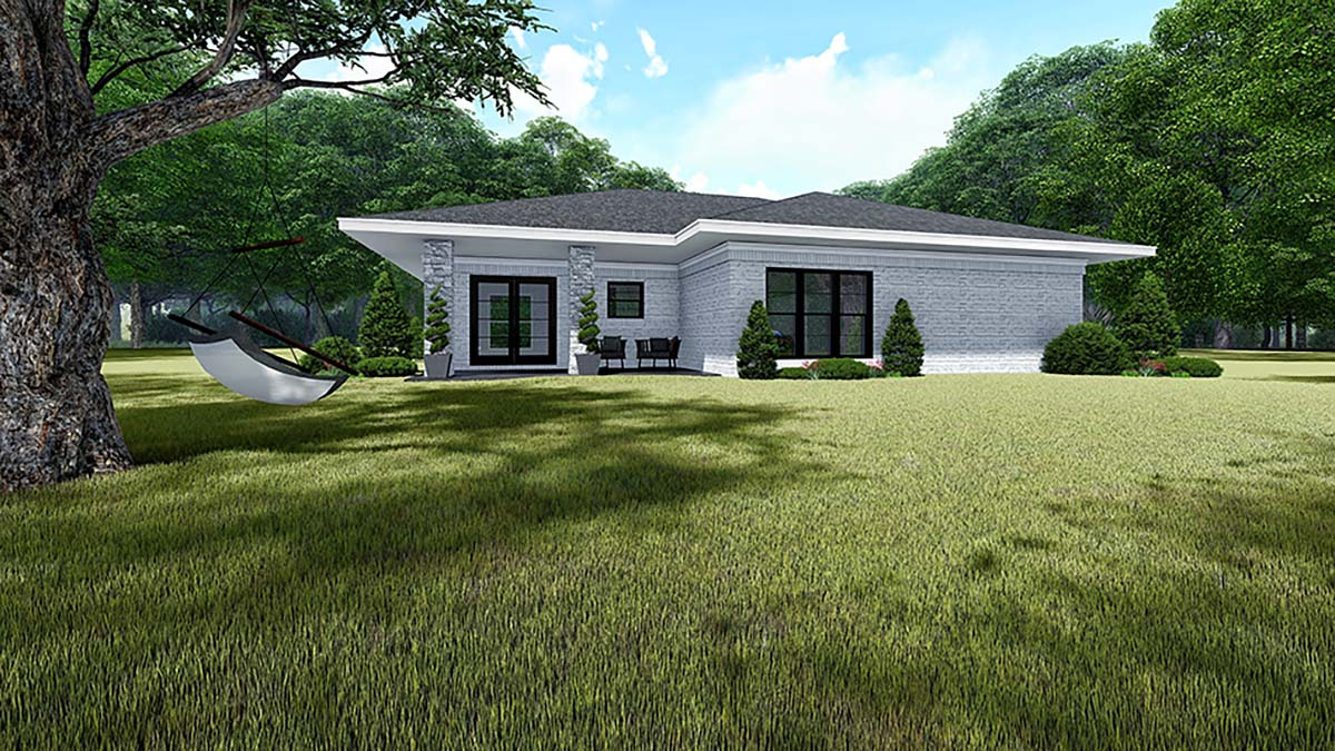 Contemporary, Prairie House Plan 82535 with 3 Beds, 2 Baths, 2 Car Garage Rear Elevation