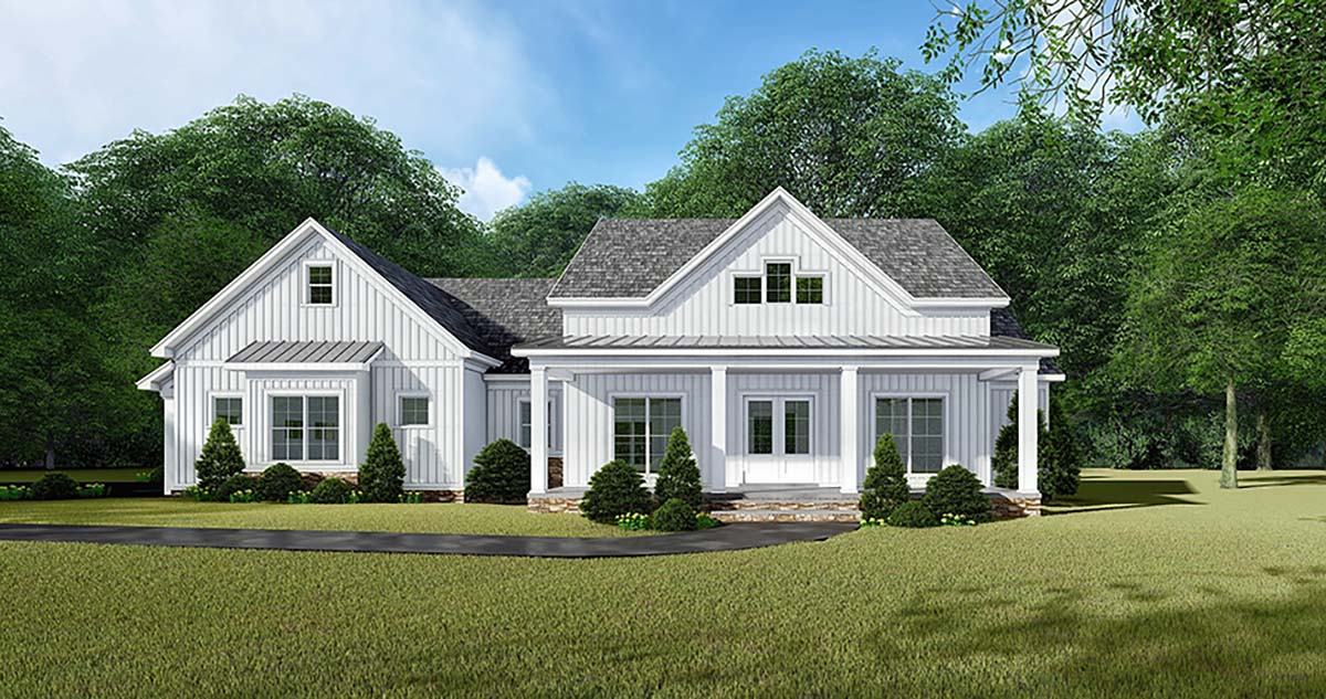 Bungalow, Country, Craftsman, Farmhouse House Plan 82542 with 3 Beds, 3 Baths, 2 Car Garage Elevation