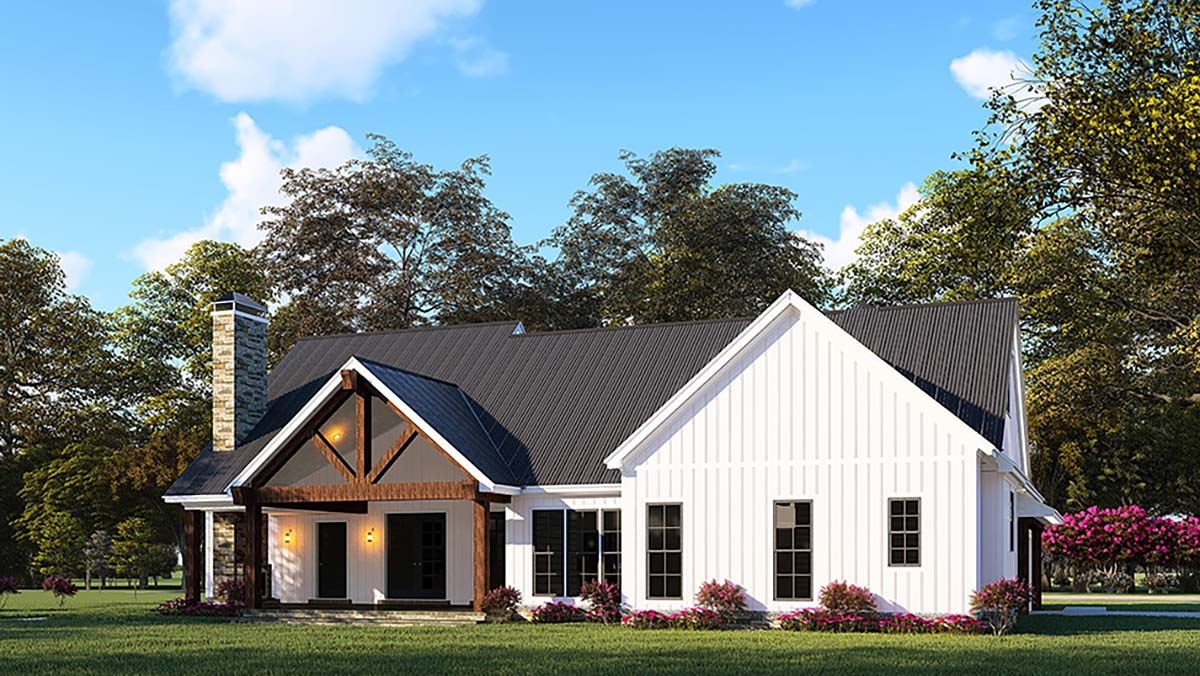 Country, Craftsman, Farmhouse House Plan 82545 with 3 Beds, 4 Baths, 2 Car Garage Rear Elevation
