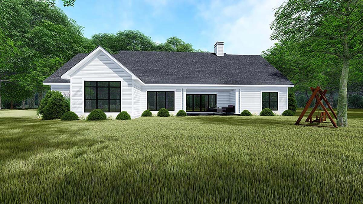 Bungalow, Craftsman, Farmhouse, Traditional House Plan 82550 with 4 Beds, 3 Baths, 3 Car Garage Rear Elevation
