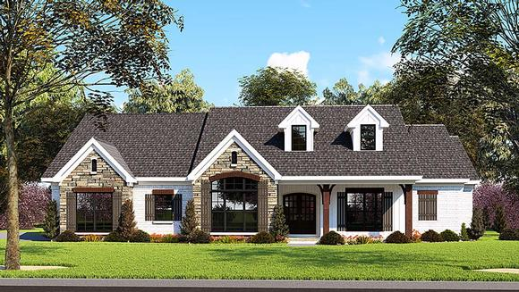 Farmhouse, One-Story, Ranch, Traditional House Plan 82555 with 3 Beds, 3 Baths, 2 Car Garage Elevation