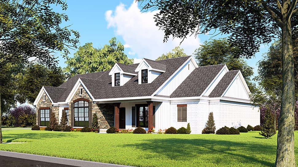 Farmhouse, One-Story, Ranch, Traditional House Plan 82555 with 3 Beds, 3 Baths, 2 Car Garage Picture 1