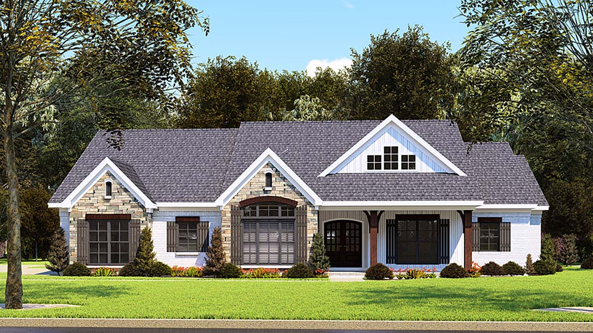 Country, Farmhouse, One-Story, Ranch, Traditional House Plan 82558 with 3 Beds, 3 Baths, 2 Car Garage Elevation