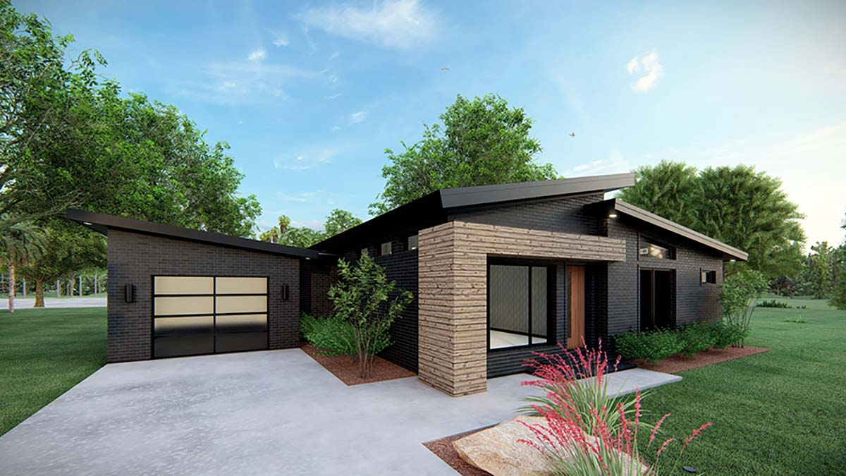 Modern House Plan 82569 with 3 Beds, 2 Baths, 1 Car Garage Picture 2
