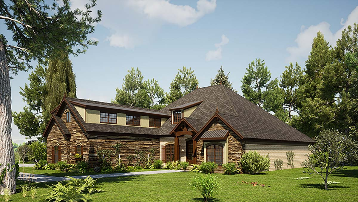 Bungalow, Craftsman, European, French Country House Plan 82571 with 3 Beds, 4 Baths, 3 Car Garage Picture 1