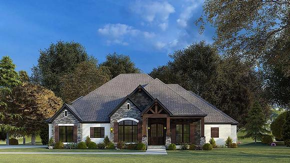 Bungalow, Craftsman, French Country, Traditional House Plan 82575 with 4 Beds, 4 Baths, 2 Car Garage Elevation