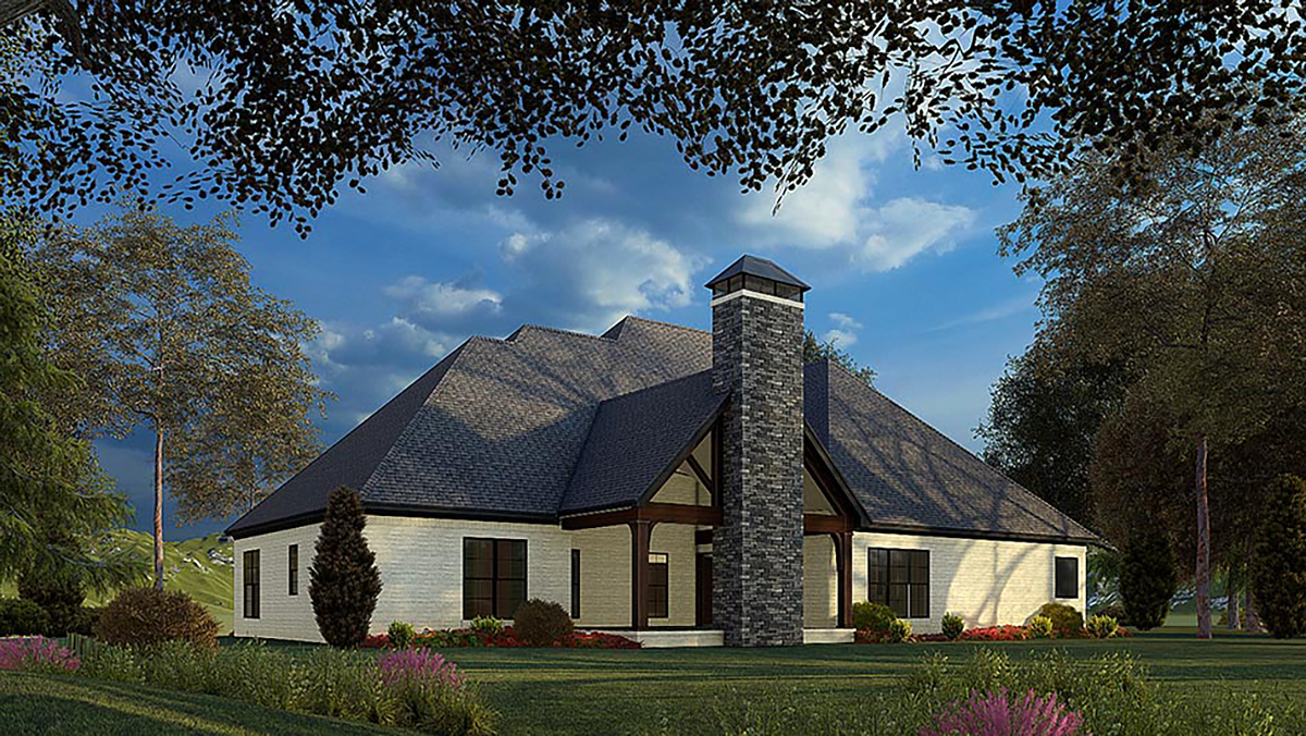Bungalow Craftsman French Country Traditional Rear Elevation of Plan 82575