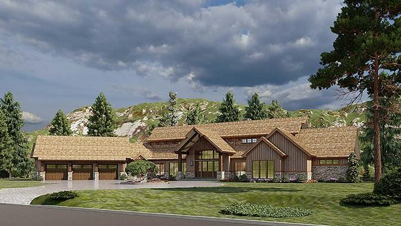 Country, Craftsman House Plan 82582 with 4 Beds, 6 Baths, 3 Car Garage Elevation