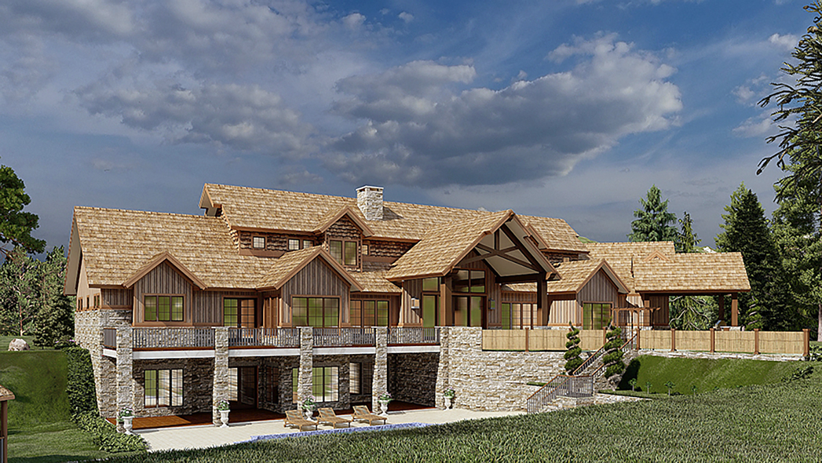 Country, Craftsman House Plan 82582 with 4 Beds, 6 Baths, 3 Car Garage Rear Elevation