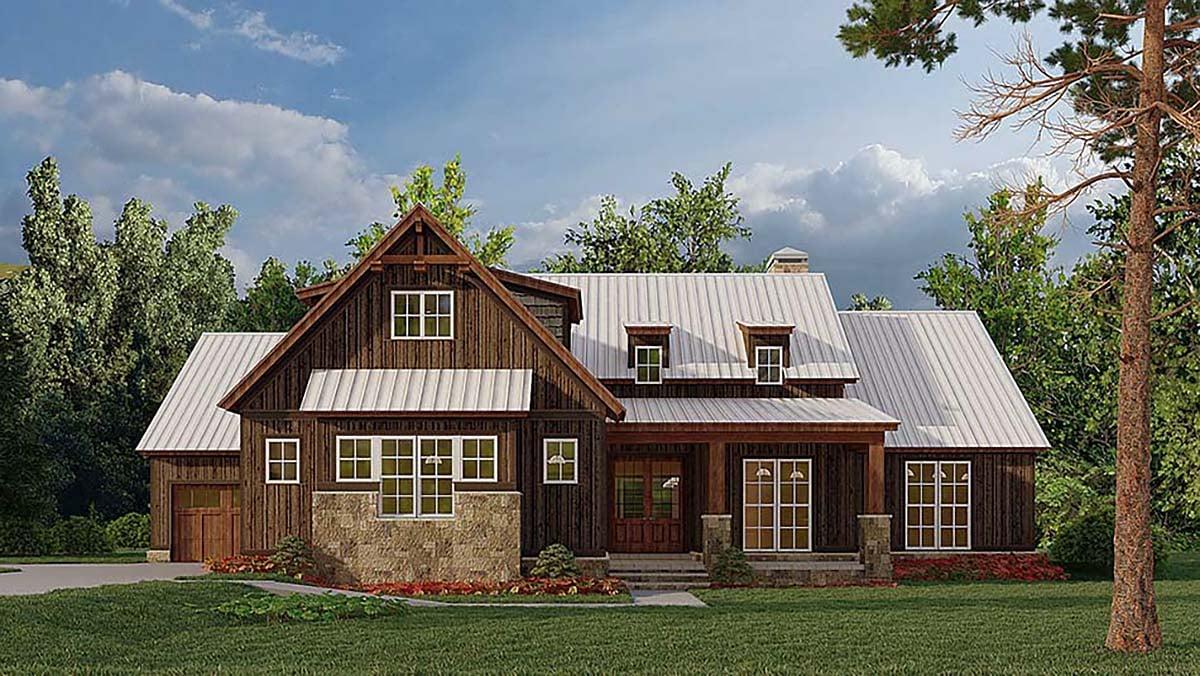 Bungalow, Craftsman, Farmhouse House Plan 82584 with 4 Beds, 3 Baths, 3 Car Garage Elevation