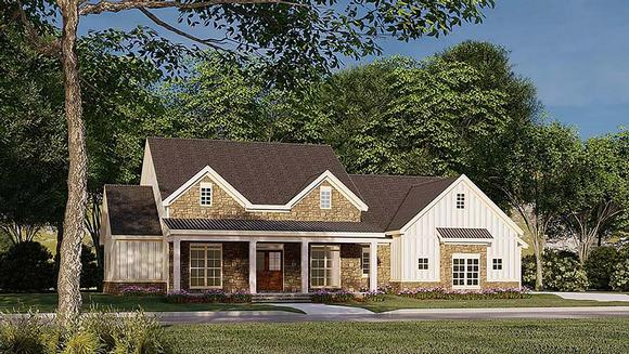 Bungalow, Country, Craftsman, Farmhouse House Plan 82586 with 3 Beds, 4 Baths, 2 Car Garage Elevation