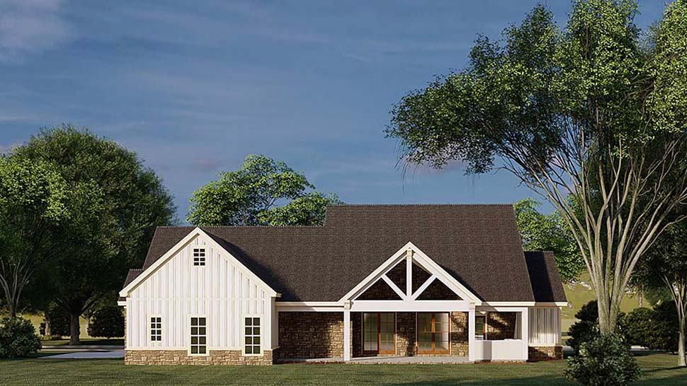 Bungalow, Country, Craftsman, Farmhouse House Plan 82586 with 3 Beds, 4 Baths, 2 Car Garage Rear Elevation