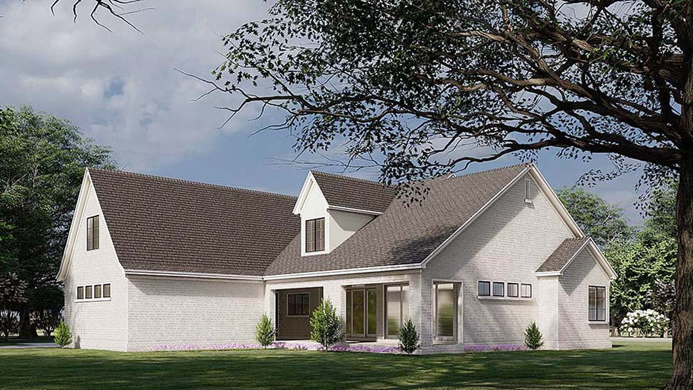 European, French Country House Plan 82587 with 3 Beds, 4 Baths, 2 Car Garage Rear Elevation