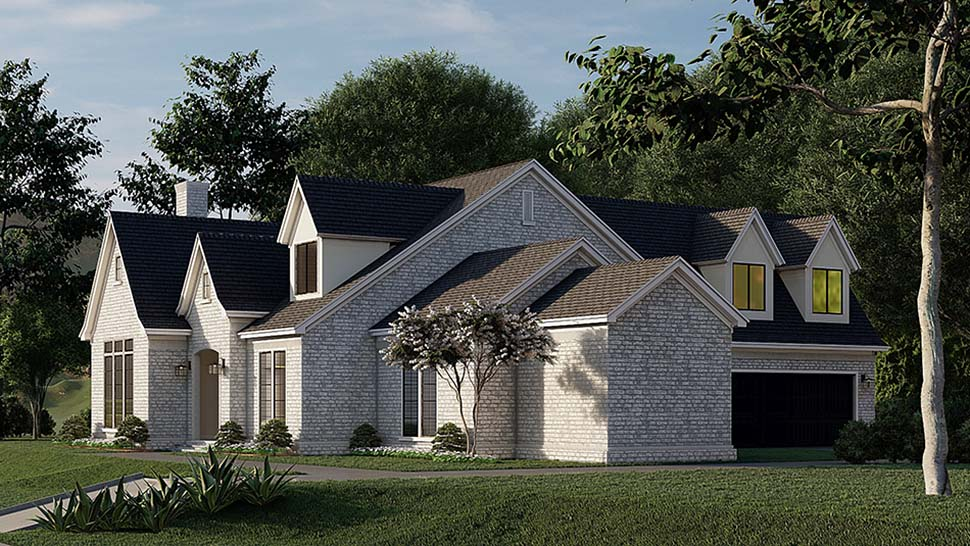 Contemporary, European, French Country House Plan 82589 with 4 Beds, 5 Baths, 2 Car Garage Picture 1