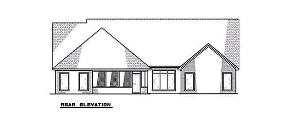 Contemporary, Craftsman, European House Plan 82590 with 4 Beds, 3 Baths, 2 Car Garage Rear Elevation