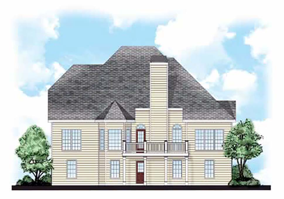 European, Traditional House Plan 83012 with 4 Beds, 3 Baths, 2 Car Garage Rear Elevation
