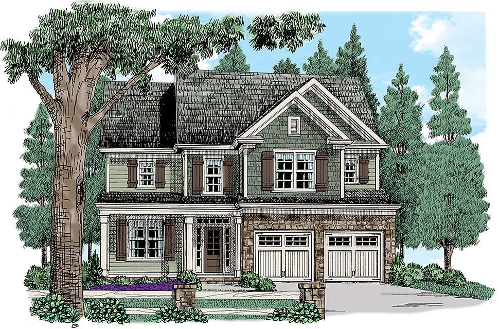 Colonial, Cottage, Country, Southern, Traditional House Plan 83020 with 4 Beds, 3 Baths, 2 Car Garage Elevation