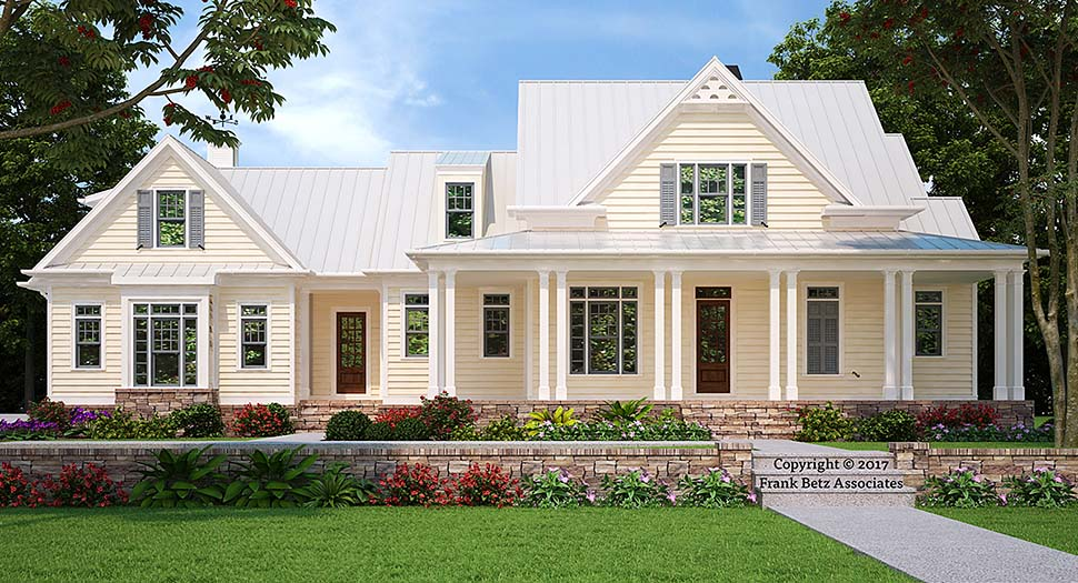 Country, Farmhouse, Southern House Plan 83038 with 4 Beds, 4 Baths, 3 Car Garage Elevation