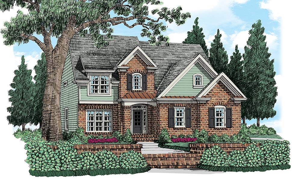 Cottage, Traditional House Plan 83043 with 4 Beds, 3 Baths, 2 Car Garage Elevation