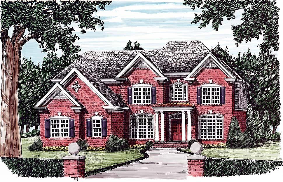 Colonial, European, Traditional House Plan 83054 with 5 Beds, 4 Baths, 3 Car Garage Elevation