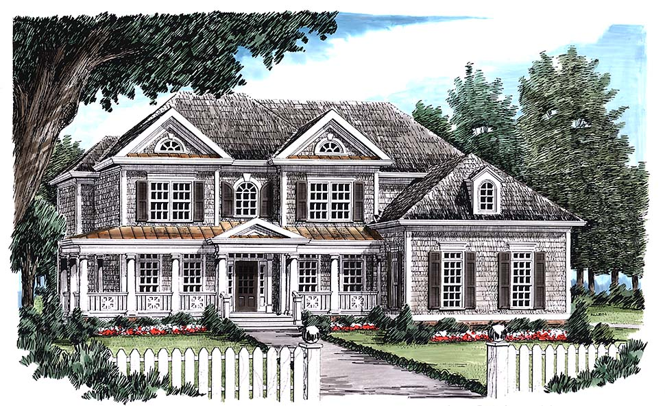 Colonial Style House Plan Number 83097 with 5 Bed, 5 Bath, 2 Car Garage