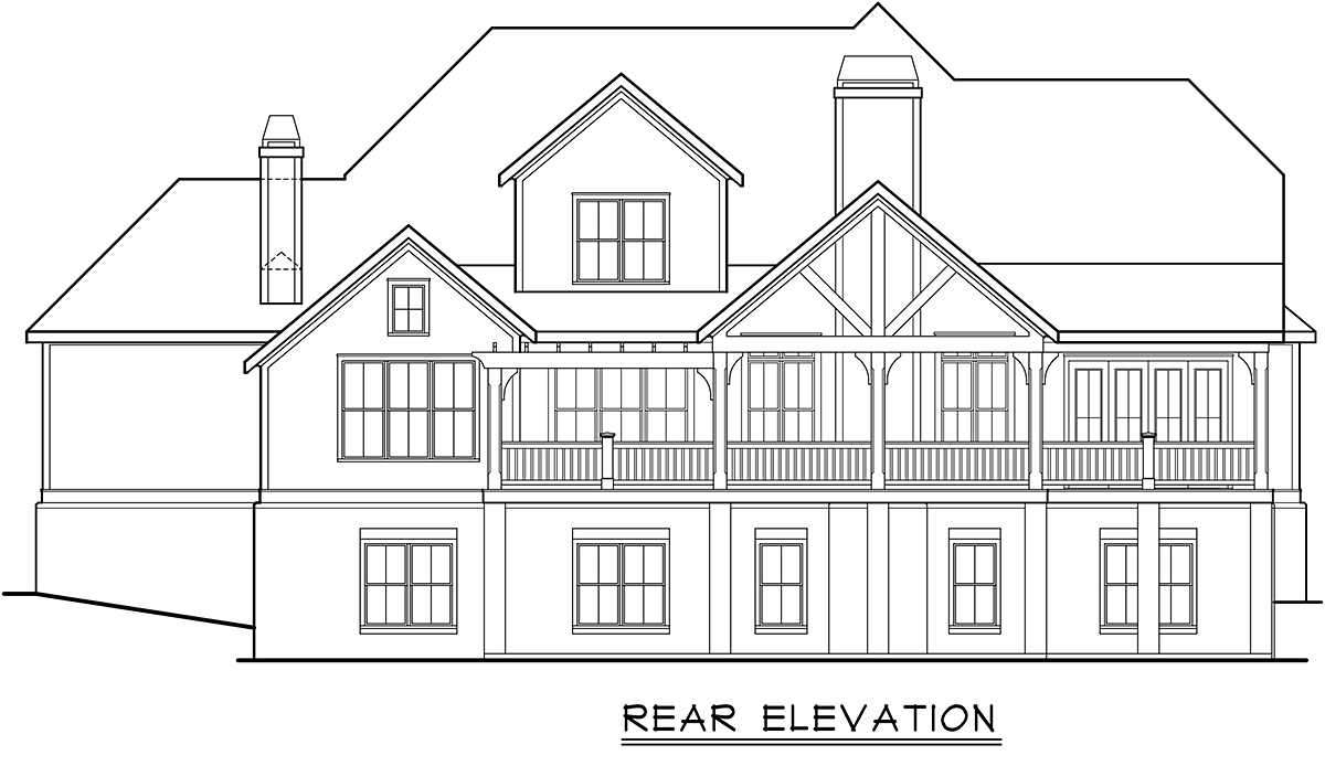 Cottage Country Farmhouse Traditional Rear Elevation of Plan 83137
