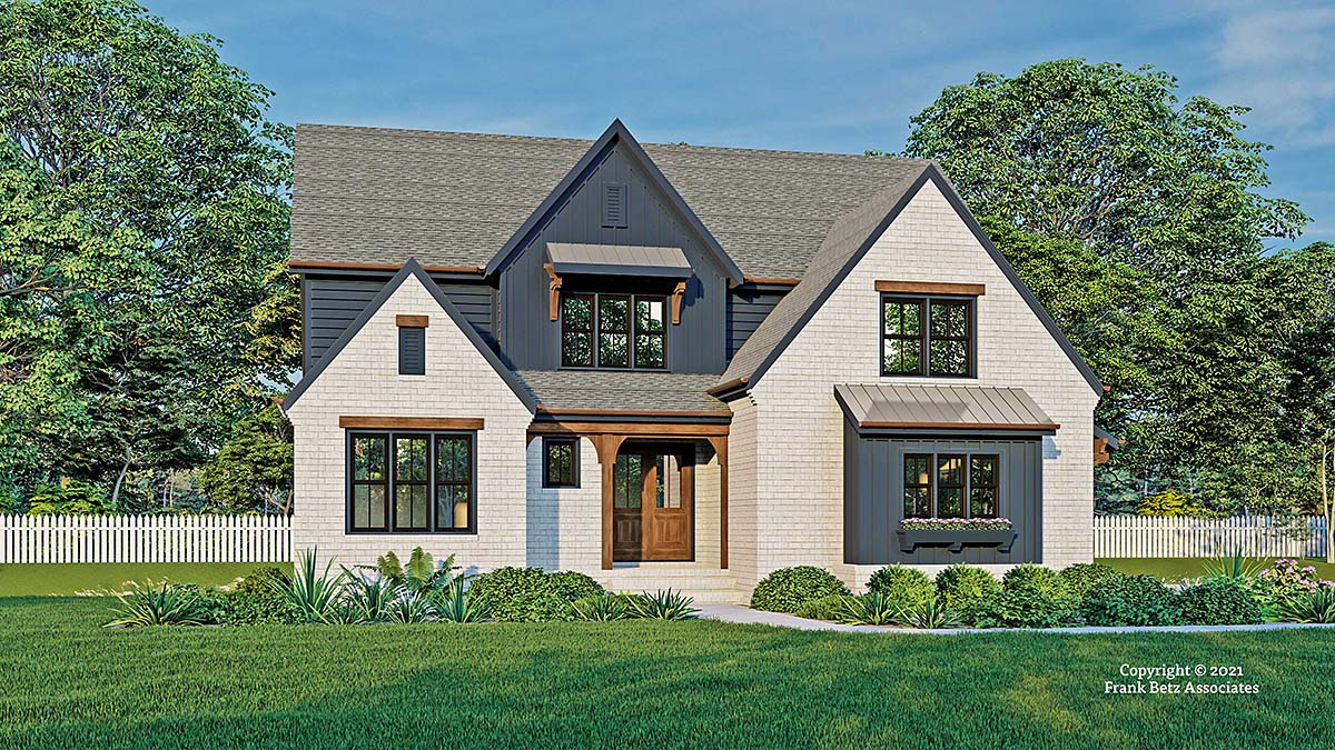Cottage, Farmhouse, Traditional House Plan 83138 with 4 Beds, 4 Baths, 2 Car Garage Elevation