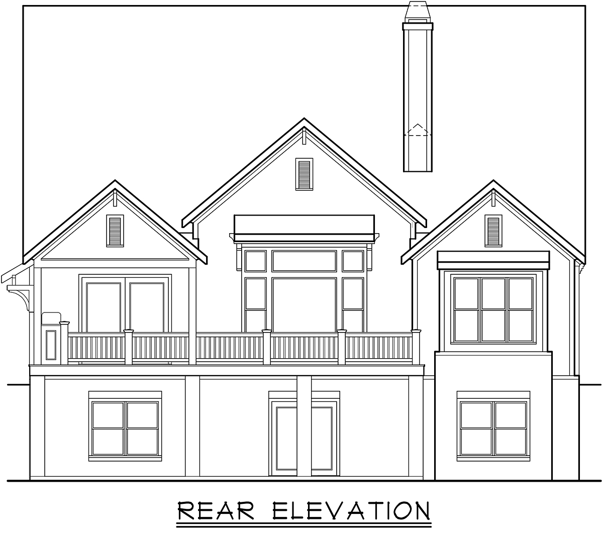 Cottage, Farmhouse, Traditional House Plan 83138 with 4 Beds, 4 Baths, 2 Car Garage Rear Elevation