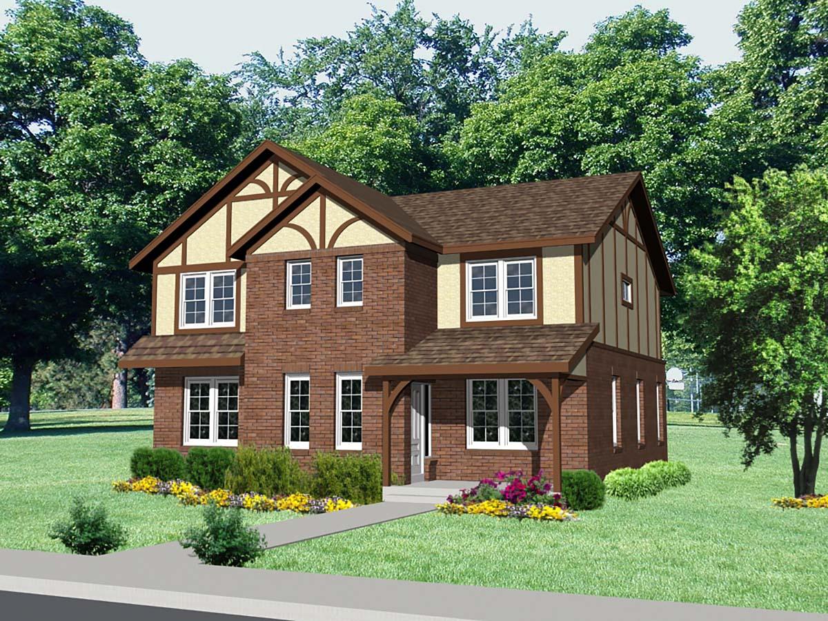 Tudor House Plan 85002 with 4 Beds, 4 Baths, 2 Car Garage Elevation