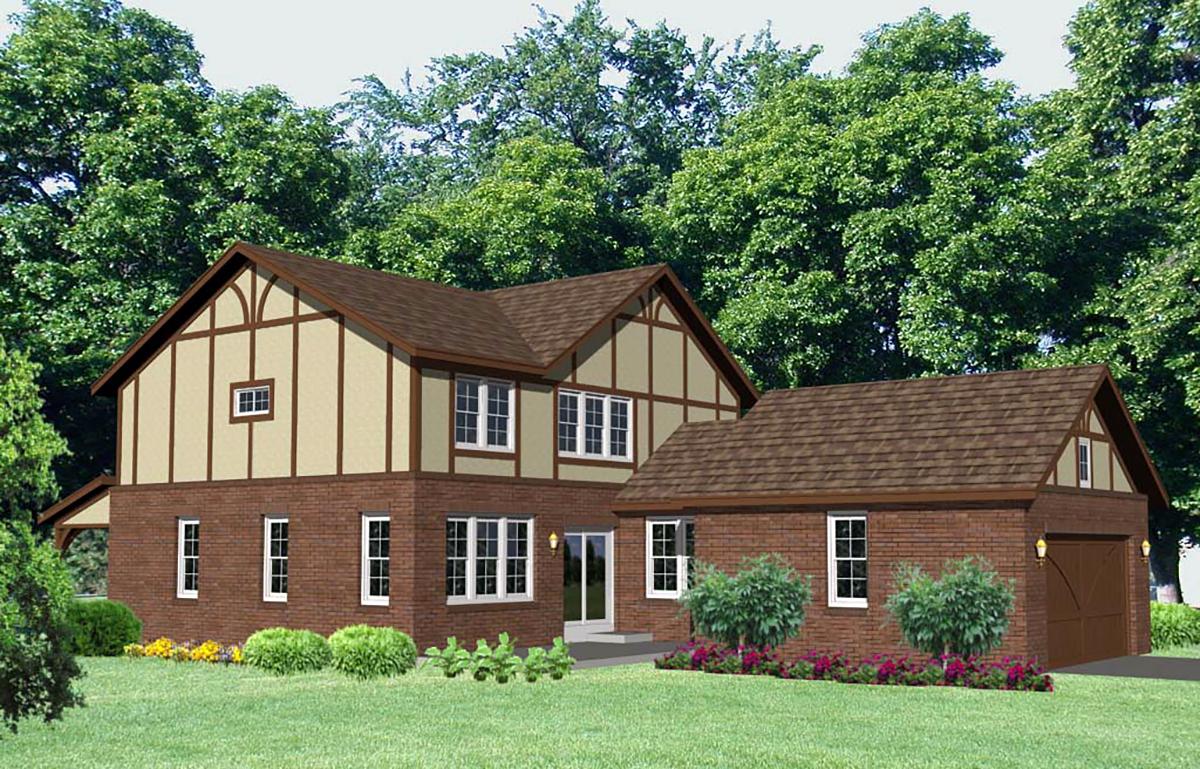 Tudor House Plan 85002 with 4 Beds, 4 Baths, 2 Car Garage Rear Elevation