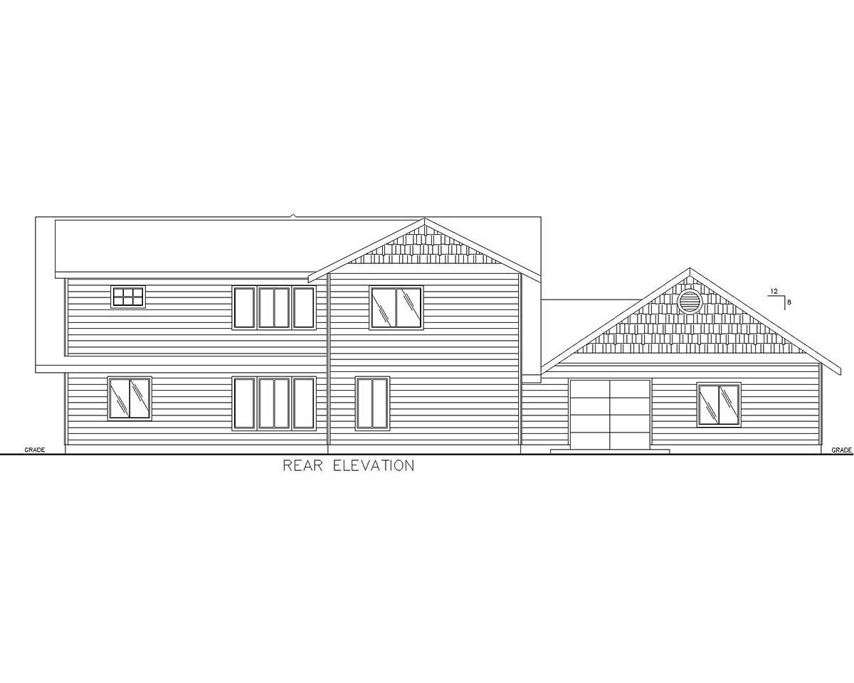 Cabin, Craftsman House Plan 85109 with 4 Beds, 3 Baths, 2 Car Garage Rear Elevation